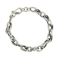 7mm Retro REAL s925 Sterling Silver Vintage Rolo LinK  Chain Bracelet Minimalism