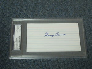 George Connor Autographed 3x5 Index Card PSA Certified Encapsulated