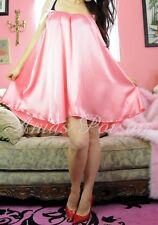 "Coral Pink Babydoll mini sweeping 120"" night gown nightie dress Sissy Panties OS"