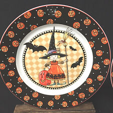 Pair Of 2 Mary Engelbreit Cake Plates Halloween Witch Bats Owl 2002
