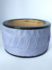 Crocodile Embossed Leather Wide Chunky Wooden Bangle Bracelet Lavender/ Black
