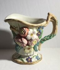 Fitz & Floyd Woodland Springs CREAMER Roses Butterfly Flowers Pink Yellow Green