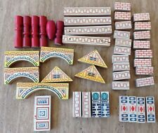 VINTAGE CONSTRUCTION BUILDING BRICKS TOY WOODEN BLOCK SET CHINA