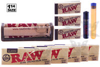 RAW CLASSIC (11PC) BUNDLE 1-1/4 SIZE ROLLING MACHINE+PAPERS+TIPS+Lighter+TUBE