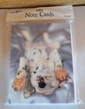 NewLEANIN' TREE 8 Note Cards & Env Sleepy Smiling B&W Spotted Puppy  #BTN35465