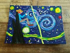 Vincent Van Gogh FISHING art trading card ACEO brut Starry Night MAN moon GHOST