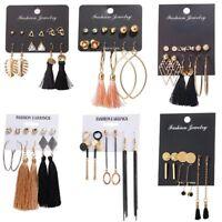 Fashion 6pcs/set Charm Long Tassel Stud Earring Women Jewelry Gift Banquet Party