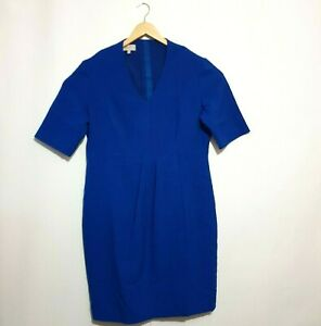 Hobbs London Dress Sz 16 Royal Blue Lined Short Sleeve Pleated Business UK 12