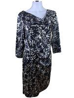 Jaeger Black Size 12  100% Silk Black Grey Bronze Cowl Neck Cinched Hip Dress