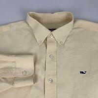 Vineyard Vines Button Down Whale Shirt Men's Large Yellow Long Sleeve