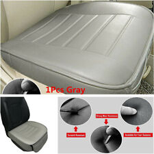 1x Universal Gray PU Leather Car Seat Cover Driver Front Cushion w/ Storage Bag