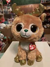 Ty Glitzy -Tan/Gold Holiday Reindeer 10� Beanie Boo Buddy! *New*
