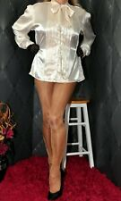 Principles cream wet look satin party formal pussy bow blouse top UK  size 14 16