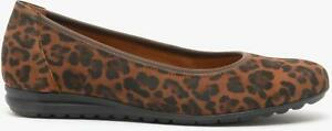 Gabor SPLASH Ladies Womens Casual Smart Slip On Suede Ballerina Shoes Whisky