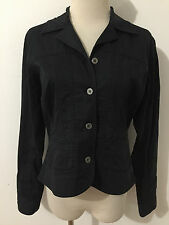 CHICO'S Casual Blazer Jacket Black Cotton/Spandex Size 0
