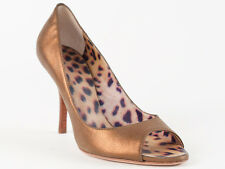 New Roberto Cavalli Dark Bronze Leather Shoes Size 37 US 7