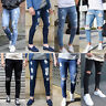 Men's Ripped Biker Jeans Slim Fit Skinny Denim Pants Distressed Stretch Trousers