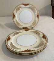 "Set of 4 Noritake 4986 Dessert Salad Plate 7 1/2"" Gold Floral Pattern Red Panels"