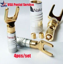 Gold Plated Screw Spade Banana Plug Connector 4mm Speaker Wire Cable Adapter Lot