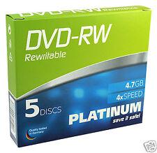 Platinum 4,7 GB DVD-RW  (4x Speed) in 5er Pack Slimcase 102570