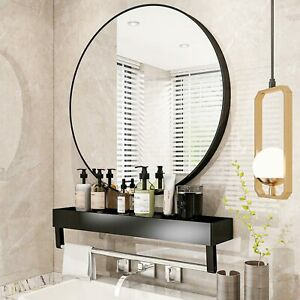 Large Industrial Style Round Wall Mirror Brushed Black Metal Frame 60cm Mirror