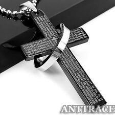 Women Men Silver Black Blue Stainless Steel Ring Cross Pendant Chain Necklace