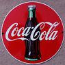Retro 1990 Andy Rooney Coca-Cola Round Coke Bottle Porcelein Rivet Sign