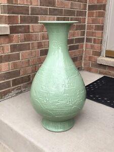 "Big Oriental Green Glaze Dragon and Phoenix Porcelain Vase 24"" Tall"