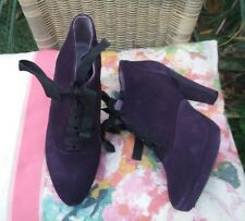 Ladies BODEN purple suede Zip up shoe boots / High Heeled Shoes Size UK 6.5