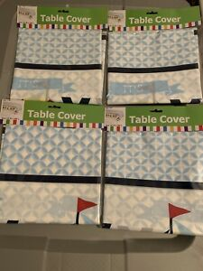 Lot Of 4 Nautical Boy Baby Shower Plastic Tablecloth - Party Supplies -