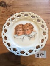 Victorian Display Plate Bonnie Children Continental Porcelain 1800s Art Nouveau