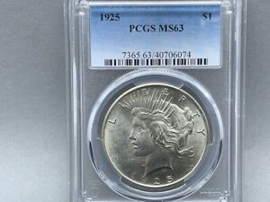 1925-P PCGS MS 63 Peace Silver Dollar! Great eye appeal and Nice Luster!