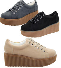 New Ladies Suede Style Designer Plimsoll Thick Sole Creeper Pumps Shoes