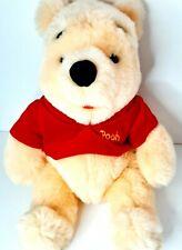 Vintage Mattel Disney Large Pooh Bear Plush Beanie Bottom Red Velvet Shirt 1997