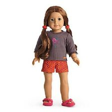 American Girl Saige's PAJAMAS top SLIPPERS shorts pjs for SAIGE sage DOLL