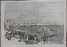 1854 Three Antique Engravings - Queen Victoria & Baltic Fleet Review, Spithead