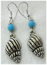 Dangle earrings -Tibetan silver style shell + glass bead