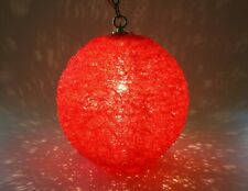 Vintage 1960 Mid Century Modern Red Spun Acrylic Hanging Sphere Ball Swag Light