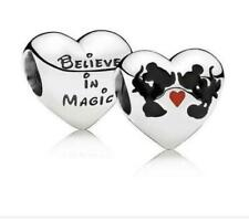 925 Silver Disney Minnie & Mickey mouse Kiss kissing love believe in magic charm