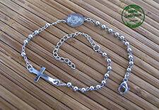 Bracciale Rosario da Uomo Donna in Acciaio Argentato Croce Preghiera Religioso