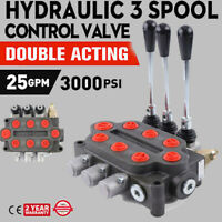 3 Spool Hydraulic Directional Control Valve Double Acting 25 GPM Adjustable US