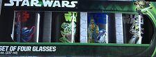 Star Wars Yoda Darth Vader Stormtroopers C-3PO 8 OZ Juice Glasses Set of 4 New