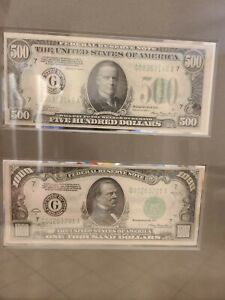 1934A $1000 AND 1934A $500 BILLS. BOTH FROM CHICAGO. GREAT CONDITION