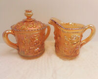 Vintage 1965 Imperial Carnival Glass Marigold Lustre Rose Creamer/Sugar Bowl/Lid
