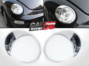 Chrome Headlights Lamp Eye Lid Brows Eyelids Cover For 1999-2005 VW New BEETLE