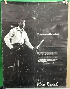 """LUDWIG DRUMS MAX ROACH 1970s POSTER 24""""x18"""" Well Used 80sDrum Store Plan On Back"""