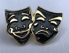 Metal Enamel Pin Badge Brooch Masks Black Gold Theatre Performing Drama Stage