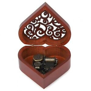 Wood Musical Box Heart Shaped Music Box Birthday Kid Crafts Gift Home Decor DIY