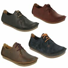 JANEY MAE LADIES CLARKS LACE UP LEATHER SMART CASUAL CUSHIONED PLUS FLAT SHOES