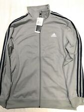 NEW Men's Adidas Essential Track Jacket, Full Zip Up, Grey/Navy, Large (L)